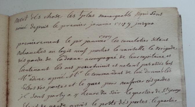 1749 à Lyon – Journal (inédit) d'un marchand mis en faillite